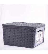 Bama Boite De Rangement Multi-usage - En plastique 31 x 21,2 x 40,5 cm Avec couvercle -Noir