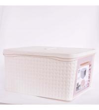 Bama Boite De Rangement Multi-usage - En plastique 31 x 21,2 x 40,5 cm Avec couvercle -Blanc
