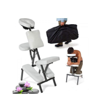 Chaise de massage, chaise de traitement avec rembourrage épais, blanc, sac de transport inclus