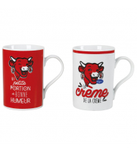 Set de 2 Mugs - Blanc & Rouge - 30 CL