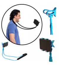 Support lazy 360 ° Flexible Suspendus Cou Support de Téléphone Bleu
