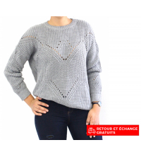 Pull femme Rouge Gris