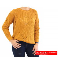 Pull femme Jaune moutarde