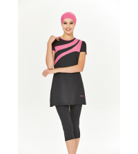maillot de ban pour femme noir et rose