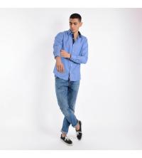 Chemise Homme Rayée Bleu Pétrole Blanc