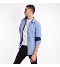Chemise Homme Bleu Gris