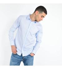 Chemise Homme rayée Bleu Ciel Blanc coupe ajustée