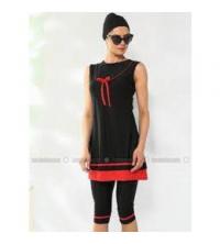 Maillot noir et rouge golf + pull sans manche pour femme