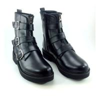 Boots - Plateforme - Croco et 3 ceintures - Mat - Noir