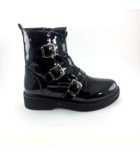 Boots - Plateforme - Croco et 3 Ceintures - Vernis - Noir