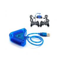 Adaptateur USB - Pour manette PS2 sur PC double ports - Bleu