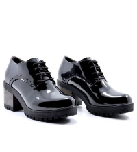 Icshoes+ Bottine - Low boots à Cheville - Lacets - Noir Vernis