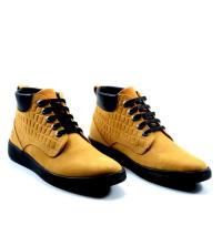Icshoes+ Boots - Lacets - Cuir Nubuck - Croco Tanné - Jaune Moutarde Réf LC 385