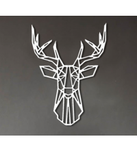 Tête de cerf - 65/50cm - Argent