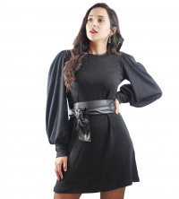 Robe Mini avec ceinture en simili cuir Noir