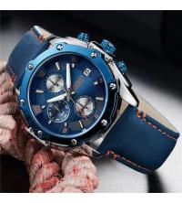 Montre MEGIR Homme Cuir Bleue -2074-1- Garantie 1 An