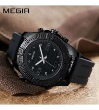 Montre MEGIR Homme Noire - 2038-N- Silicone - Garantie 1 An