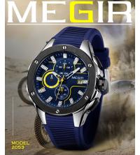 Montre MEGIR Homme bLEUE -2053-BA - Silicone - Garantie 1 An