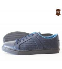 Chaussure homme cuir effet torsadé Bleu