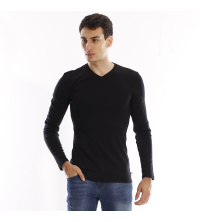 T-shirt manches longues col V - Bleu Marine