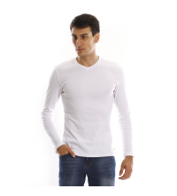 T-shirt manches longues col V - Blanc