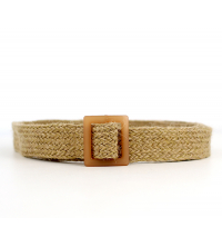 ceinture tressée fine en raphia avec boucle effet bois