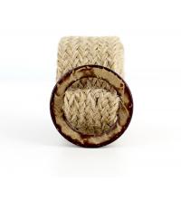 ceinture tressée fine en raphia avec boucle en bois