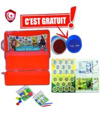 Pack - Boite de stylos , des jetons , monnaie contrefaite et tampon .