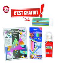 Pack - papier dessin , stylos feutre , stylos colore avec gomme gratuit