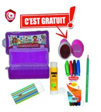 Pack - Boite de stylos , 4 stylos , crayon , gomme , colla et tampon gratuit
