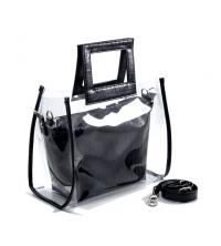 PARTAGEZ CE PRODUIT Sac à Main LC 330 - Simili Cuir - Transparant et croco design - Noir Matt