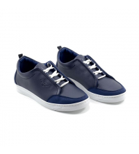 Sneakers kids - Simili Cuir - Nubuck - Lacets - Bleu LC 408