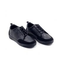Sneakers kids - Simili Cuir - Nubuck - Lacets - Noir LC 408
