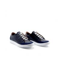 Sneakers - Simili Cuir - Nubuck - Lacets - Bleu LC 408