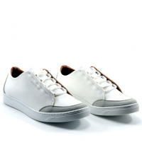 Sneakers Homme - Simili Cuir - Nubuck - Lacets - Blanc LC 408