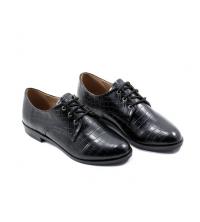 Oxford Style - Talon - Matt - Croco - Lacets - Noir LC 122
