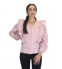 Chemise à manches volants Rose poudré