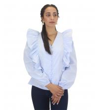 Chemise à manches volants Bleu ciel
