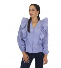 Chemise à manches volants rayer bleu