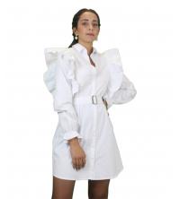Robe chemise a volants courte