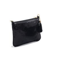 Pochette LC 715 – Brodé - Perle de Paillette de forme disque – Noir