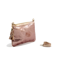 Pochette LC 715 – Brodé - Perle de Paillette de forme disque – Cuivre Rosé