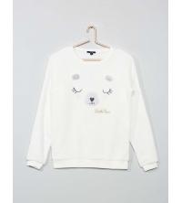 Sweat de pyjama ours en tissu polaire blanc
