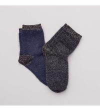 Lot de 2 paires de chaussettes poilus et lurex noir