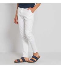 Pantalon chino lin et coton blanc