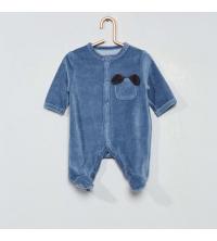 Pyjama en velours chien bleu