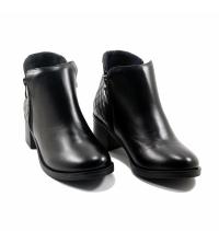 Boots LC 3010 – Simili Cuir – Talon Bloc – Matelassé – Noir