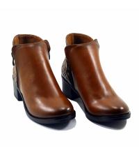Boots LC 3010 – Simili Cuir – Talon Bloc – Matelassé – Marron