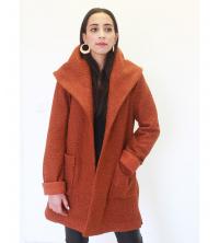Manteau bouclettes à capuche