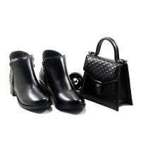 Set LC 3010 – Boots et Sac Simili Cuir – Talon Bloc – Matelassé – Noir